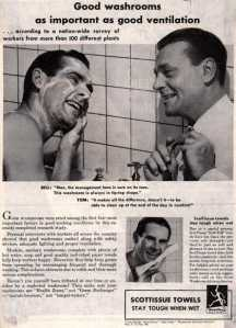 Showering together vintage ad