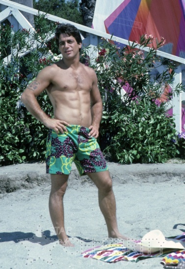 Shirtless young Tony Danza abs