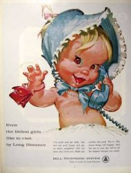 Vintage Bell telephone naked baby ad8